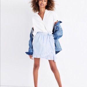 Madewell light blue wrap skirt